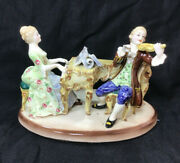Antique Rococo Majolica Porcelain Figurine Lady And Gentleman Made In Italy