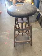 🔥antique Dental Medical Swivel Stool Chair Round Seat 🔥 American Cabinet Co.
