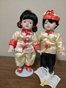 Boy And Girl Pair Seymour Mann Numbered Porcelain Dolls Asian