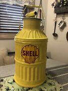 Antique Vintage Restored 5 Gallon Yellow Gas/oil Can Shell Logo