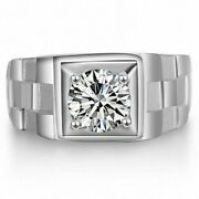 2.00ct Round Cut Moissanite 14k Gold Menand039s Solitaire Engagement And Wedding Ring