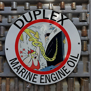 Vintage 1953 Duplex Marine Engine Oil And039and039little Lottaand039and039 Porcelain Gas And Oil Sign