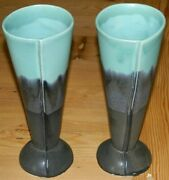 Hand Made Studio Art Pottery Ceramic Beer Drink Cups W/bells In Base Wes Weiss