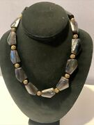 Vintage Unique Solid Abalone Bead And Filigree Sterling Silver Beads Necklace 17