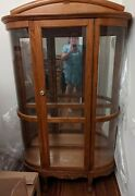 Antique Oak Bow Front Curio Display China Cabinet Lighted Beveled Glass Shelves