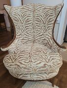 Vintage Antique Tan Ivory Animal Print Zebra Upholstered Wing Chair Can Ship