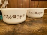 Vintage Dynaware Pyr-o-rey Set Of 2 Casserole Bowls With Brown Floral Daisy