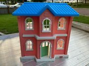 Vintage Little Tikes My Size Doll House Dollhouse Large Pink Blue Roof
