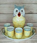 Vintage Art Deco Googly Eyed Owl Decanter Set Lusterware Japan Tray And Cups