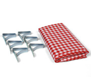 """Coghlan's Picnic Combo Pack, Red And White Checkered 54"""" X 72"""" Vinyl Tablecloth"""
