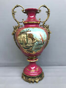 Antique French Sevres Urn Vase Porcelain And Brass Hand Painted Signed 21
