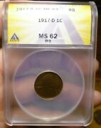 1917 D Anacs Ms62 Rb Red Brown Lincoln Wheat Cent