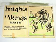 Vintage Louis Marx Castle Playset Vikings And Knights - 4743 Andndash 75 Figures W/ Box