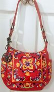 Anuschka Red Tuscan Tiles Hand-painted Leather Hobo With Coin Pouch - Nwt