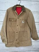 Vintage 90s Traditional Quilt Duck Canvas Lined Jacket 36 Tan