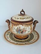 Antique Mettlach Punch Bowl With Underplate Musicians And Military Party 1890's