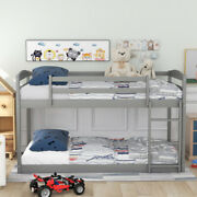 Us Twin Over Twin Floor Bunk Bed With Ladder, Space-saving Design