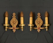 Nice Pair Of Quality Antique Lincoln Double Candle Polychrome Wall Sconces 127a