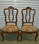Ethan Allen Tuscany Dining Side Chairs Splatback Carved 32-6302 Ca 2003 Set A