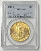1914-d 20 Saint Gaudens Gold Pre-33 Pcgs Ms64 Bright And Beautiful Scarce Date