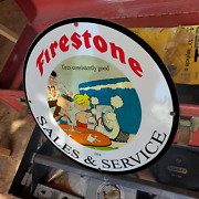 Vintage 1954 Firestone Sales And Service And039dennis Menaceand039 Porcelain Gas And Oil Sign