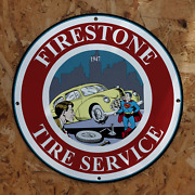 Vintage 1947 Firestone Tire Service And039and039supermanand039and039 Porcelain Gas And Oil Pump Sign