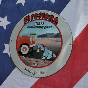 Vintage 1953 Firestone Tires And039and039goofy Dogand039and039 Porcelain Gas And Oil Pump Sign