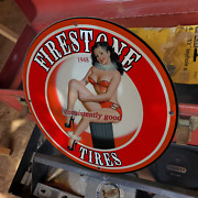 Vintage 1948 Firestone And039and039consistently Goodand039and039 Tires Porcelain Gas And Oil Sign