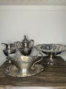 Sheffield Silver Plated Antique Lot Pourer, Center Plate, And More Vintage