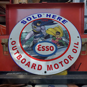 Vintage 1966 Esso Outboard Motor Oil And039batman And Robinand039 Porcelain Gas And Oil Sign