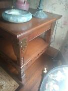 Arts And Crafts Oak Lamp Table In Pristine Condition