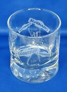 Drambuie Glass Rocks Heavy Bottom Old Fashion Logo Clear Dimpled White Lettering