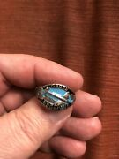 Vintage German Military Size 12 Air Force Ring Marked 800