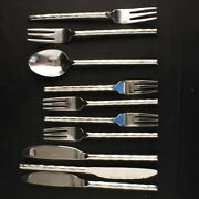 10 Pc Lot Pier 1 Stainless Flatware Caldera Hammered Glossy Forks Knives Spoon