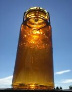 Antique Rare Trademark The Dandy Amber Canning Fruit Quart Jar W/wire Bale And Lid