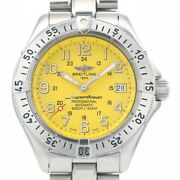 [oh] Breitling Superocean Automatic Date Yellow Dial Menand039s Box And Paper A17345