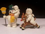 2- Dept. 56 Snowbabies Frosty Snowman And Rudolph Reindeer Christmas Ornaments