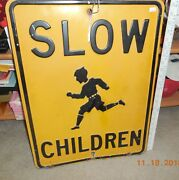 Vintage 1940's Slow Children At Play Embossed Heavy Metal Road Sign Free Ship Us