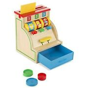 Melissa And Doug Sort And Swipe Cash Register - Wooden Educational Toy With 3 Coins