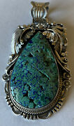 Fabulous Signed Navajo Sterling Silver Natural Bisbee Azurite Pendant