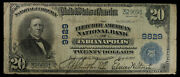 1902 20 National Bank Note Fletcher American Bank Indianapolis Large Size Ve...