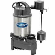 92151 Stainless Steel 1 Cast Iron Sump Pump Side Discharge With Vertical Float