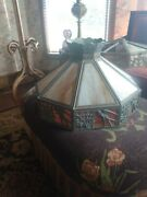 Arts And Crafts Era Bradly And Hubbard Ceiling Or Floor Lamp Shade W/flying Bird