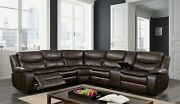 Reclining Motion Large Sectional Family Couch Wedge Console Brown Leatherette