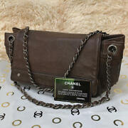 Chain Tote Bag 251410cm Brown Leather Flap +guarantee Card Vintage