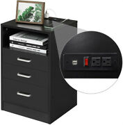Black Nightstand 3 Drawers With Usb Port Bedroom Sliding Drawer Stand Cabinet