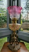 Original Victorian Cranberry Glass Crystal Etched Oil Lamp Shade 4 Font Base A1