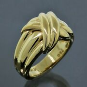 And Co. 1990 Signature 18k Yellow Gold X Ribbon Band Ring Size 6.75