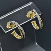 David Yurman 18k White And Yellow Gold Diamond Small Cable Crossover Hoop Earrings