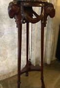 Antique Style Carved Mahogany Plant Stand W/ Rams Head And Hooved Feet Goat